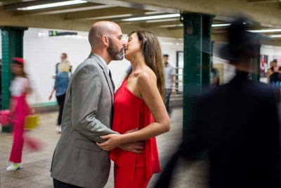 newlyweds kissing in the subway, best of