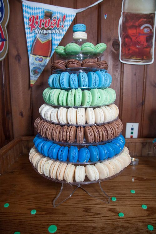 a wedding cake made of macaroons
